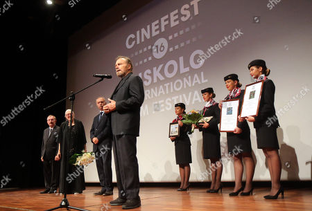 Franco Nero speaks after he received the Ambassador of The European Cinema Award at the 16th CineFest Miskolc International Film Festival in Miskolc, Hungary, 19 September 2019. In the background his wife, Oscar winning English actress Vanessa Redgrave (2-L), director of the festival Tibor Biro (L) and Mayor Peter Pflieger (3-L) look on.