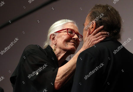 Stock Picture of Oscar winning English actress Vanessa Redgrave smiles at her husband, Italian actor Franco Nero (R) on stage before they receive the Ambassador of The European Cinema Awards at the 16th CineFest Miskolc International Film Festival in Miskolc, Hungary, 19 September 2019.
