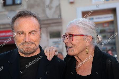 Oscar winning English actress Vanessa Redgrave (R) and her husband, Italian actor Franco Nero arrive at the 16th CineFest Miskolc International Film Festival in Miskolc, Hungary, 19 September 2019.