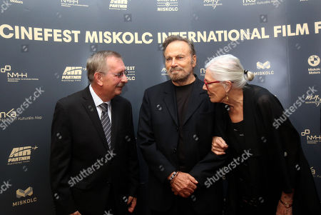 Oscar winning English actress Vanessa Redgrave (R) and her husband, Italian actor Franco Nero (C) stand with director of the festival Tibor Biro on stage before they receive the Ambassador of The European Cinema Awards from Biro at the 16th CineFest Miskolc International Film Festival in Miskolc, Hungary, 19 September 2019.