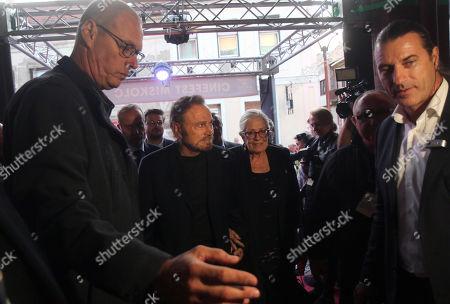 Oscar winning English actress Vanessa Redgrave (C-R) and her husband, Italian actor Franco Nero (C-L) arrive at the 16th CineFest Miskolc International Film Festival in Miskolc, Hungary, 19 September 2019.