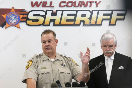 Will County Sheriff Mike Kelley, left, speaks at a news conference accompanied by Will County State's Attorney James Glasgow, in Joliet, Ill. Authorities have found no fetal remains at a shuttered abortion clinic once operated by the late abortion Dr. Ulrich Klopfer whose Illinois property was found to contain more than 2,200 medically preserved fetal remains