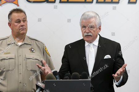 Stock Image of Will County State's Attorney James Glasgow, right, speaks at a news conference accompanied by Will County Sheriff Mike Kelley, in Joliet, Ill. Authorities have found no fetal remains at a shuttered abortion clinic once operated by the late abortion Dr. Ulrich Klopfer whose Illinois property was found to contain more than 2,200 medically preserved fetal remains