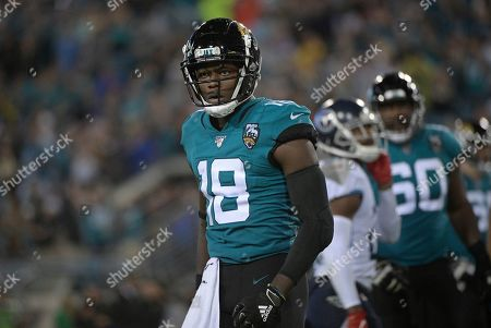 Stock Photo of Jacksonville Jaguars wide receiver Chris Conley (18) after a catch against the Tennessee Titans during the second half of an NFL football game, in Jacksonville, Fla