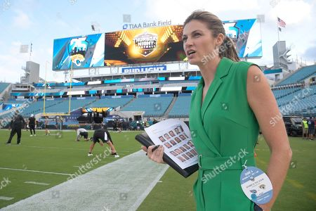 NFL Network sideline reporter Erin Andrews before an NFL football game between the Jacksonville Jaguars and the Tennessee Titans, in Jacksonville, Fla
