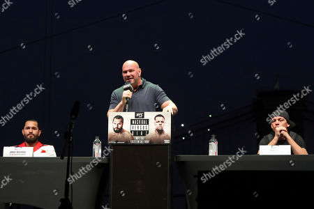 Dana White speaks at a news conference for the UFC 244 mixed martial arts event, in New York. Jorge Masvidal is scheduled to fight Nate Diaz Saturday, November 2 at Madison Square Garden