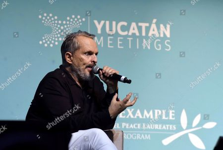 Stock Image of Spanish singer Miguel Bose speaks during the World Summit of Nobel Peace Laureates in Merida, Mexico, 19 September 2019. The summit will be held from 19 September to 22 September 2019.