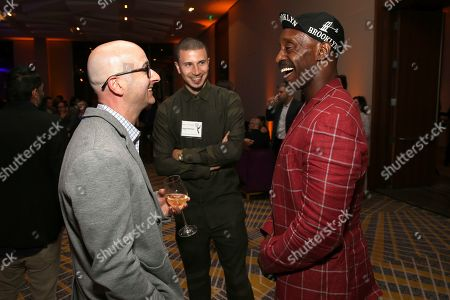 """Jess Rosenthal, Solvan """"Slick"""" Naim, Rob Morgan. Jess Rosenthal, from left, Solvan """"Slick"""" Naim, and Rob Morgan attend the 2019 Producers Nominee Reception, in West Hollywood, Calif"""