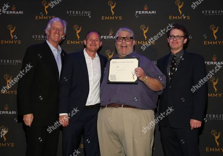 Stock Image of John Ziffren, David Hyman, David Mandel, Dan O'Keefe. Television Academy Producers Peer Group Governor John Ziffren, left, with Emmy Nominees David Hyman, from second left, David Mandel and Dan O'Keefe at the 2019 Producers Nominee Reception, in West Hollywood, Calif