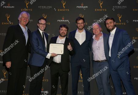 Stock Photo of John Ziffren, Zachary Halley, Derek Waters, Greg Tuculescu, Owen Burke, Jeremy Konner. Television Academy Producers Peer Group Governor John Ziffren, from left, and nominees Zachary Halley, Derek Waters, Greg Tuculescu, Owen Burke, and Jeremy Konner attend the 2019 Producers Nominee Reception, in West Hollywood, Calif