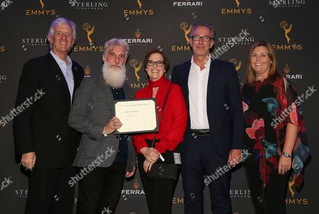 John Ziffren, Chris Newman, Bernadette Caulfield, Duncan Muggoch, Lisa Byrne. Television Academy Producers Peer Group Governor John Ziffren, left, with Emmy Nominees Chris Newman, from second left, Bernadette Caulfield, Duncan Muggoch and Lisa Byrne at the 2019 Producers Nominee Reception, in West Hollywood, Calif