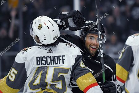 Alex Iafallo, Jake Bischoff. Los Angeles Kings left wing Alex Iafallo, right, celebrates a goal by right wing Dustin Brown as he skates around Vegas Golden Knights defenseman Jake Bischoff during the second period of a preseason NHL hockey game, in Los Angeles