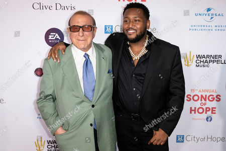 Clive Davis (L) and Canadian record producer Boi-1da (R) arrive for the City of Hope's 15th Annual Songs of Hope in Sherman Oaks, California, USA, 19 September 2019. Songs of Hope is an evening that honors songwriters and composers, featuring live music and a silent auction.
