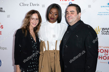 CEO of Universal Music Publishing Group Jody Gerson, US rapper Tierra Whack and Universal Music Publishing President for North America Evan Lamberg arrive for the City of Hope's 15th Annual Songs of Hope in Sherman Oaks, California, USA, 19 September 2019. Songs of Hope is an evening that honors songwriters and composers, featuring live music and a silent auction.