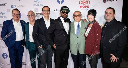David Renzer, Steve Schnur, Doug Davis The-Dream, Clive Davis, Diane Warren and Evan Lamberg arrive for the City of Hope's 15th Annual Songs of Hope in Sherman Oaks, California, USA, 19 September 2019. Songs of Hope is an evening that honors songwriters and composers, featuring live music and a silent auction.