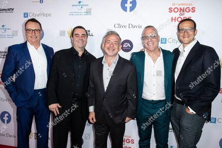 David Renzer, Evan Lamberg, Marc Shaiman, Steve Schnur and Doug Davis arrive for the City of Hope's 15th Annual Songs of Hope in Sherman Oaks, California, USA, 19 September 2019. Songs of Hope is an evening that honors songwriters and composers, featuring live music and a silent auction.