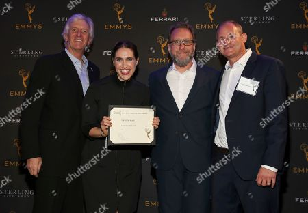 """John Ziffren, Megan Amram, Josh Siegal, David Hyman. Television Academy Producers Peer Group Governor John Ziffren, left, with Emmy Nominees for Outstanding Comedy Series for """"The Good Place,"""" Megan Amram, second from left, Josh Siegal and David Hyman at the 2019 Producers Nominee Reception, in West Hollywood, Calif"""