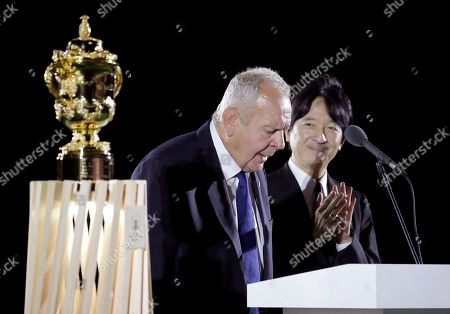 World Rugby Chairman Sir Bill Beaumont makes the opening address as Japan's Prince Akishino watches during the opening ceremony for the Rugby World Cup ahead of the Pool A game at Tokyo Stadium between Russia and Japan in Tokyo, Japan