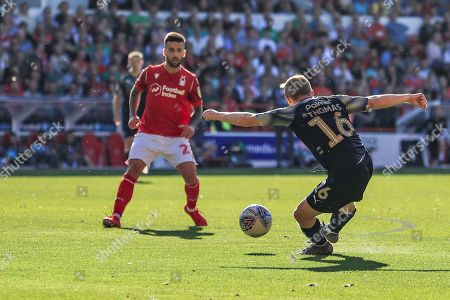 21st September 2019, City Ground, Nottingham, England; Sky Bet Championship Football, Nottingham Forest vs Barnsley ; Luke Thomas (16) of Barnsley  shoots on goal