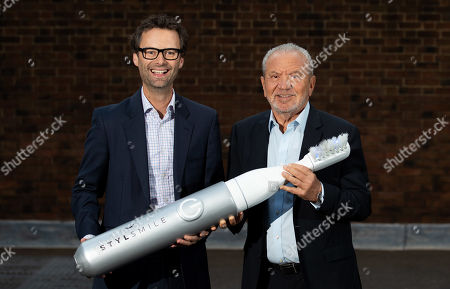 Stock Picture of Lord Alan Sugar and Apprentice Winner Inventor Tom Pellereau, launch STYLSMILE Lighten Up - a Light Accelerated Tooth Whitening Experience in Leicester Square