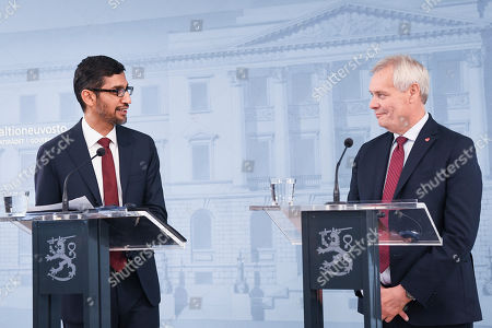 Sundar Pichai (L) CEO of Google attends the press conference with Finnish Prime minister Antti Rinne in Helsinki, Finland, 20 Septemper 2019. Google will invest in Finland Hamina data center about 600 million euros.
