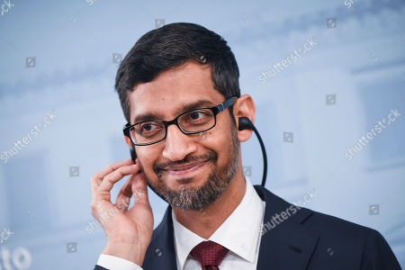 Sundar Pichai CEO of Google attends the press conference with Finnish Prime minister Antti Rinne (not seen) in Helsinki, Finland, 20 Septemper 2019. Google will invest in Finland Hamina data center about 600 million euros.
