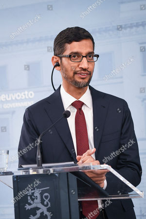 Stock Photo of Sundar Pichai CEO of Google attends the press conference with Finnish Prime minister Antti Rinne (not seen) in Helsinki, Finland, 20 Septemper 2019. Google will invest in Finland Hamina data center about 600 million euros.
