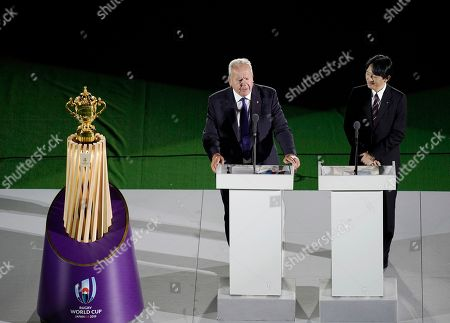 Japanese Crown Prince Akishino (R) and World Rugby Chairman Bill Beaumont (L) attend the opening ceremony prior to the opening match of the Rugby World Cup 2019 between Japan and Russia at Tokyo Stadium in Tokyo, Japan, 20 September 2019. The Rugby World Cup opens on 20 September 2019 through 02 November 2019.