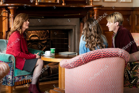 Siobhan Finneran as Elaine Pickford, Rachel Shenton as Emma and Charlie Cooper as Kevin Reape.