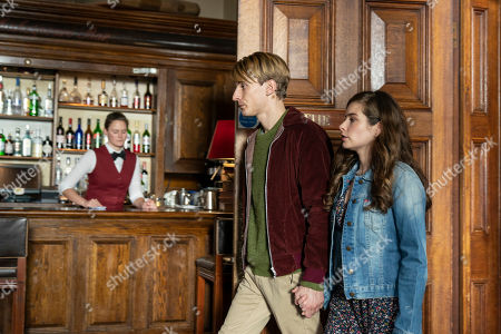 Charlie Cooper as Kevin Reape and Rachel Shenton as Emma.