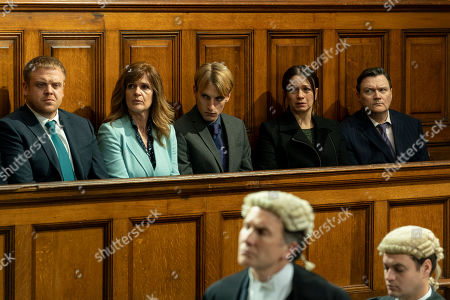 Stock Image of Owain Arthur as DI Sean Memory, Siobhan Finneran as Elaine Pickford, Charlie Cooper as Kevin Reape, Simone Lahbib as Debbie and Ian Puleston-Davies as Mick O'Callaghan.