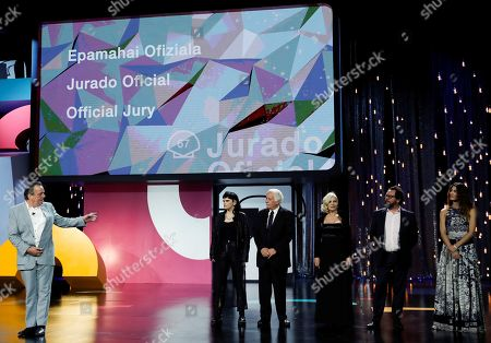 Stock Picture of Official Jury members , Irish film director Neil Jordan, Swedish photographer Lisabi Fridell, Israel producer Katriel Schory, Argentine actress Mercedes Moran, producer Pablo Cruz and Spanish actress Barbara Lennie on stage during the 67th San Sebastian International Film Festival (SSIFF), in San Sebastian, Spain, 20 September 2019. The festival runs from 20 to 28 September.