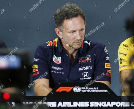 Stock Image of Team Principal - Christian Horner, Red Bull Racing at the press conference during the Formula 1 Singapore Grand Prix 2019 at Marina Bay Street Circuit