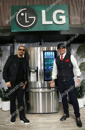 Stock Image of Ice-T, left, and Vanilla Ice, right, help launch LG's iconic InstaView? Refrigerator with Craft Ice?, the only refrigerator to automatically produce three custom types of ice: slow-melting, round LG Craft Ice in the freezer drawer, and cubed and crushed ice in the door, in New York City