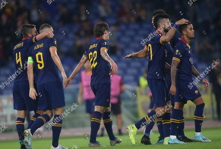 Nicolo Zaniolo of Roma, Edin Dzeko of Roma celebrate their goal