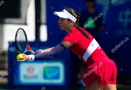 Stock Image of Christina McHale of the United States in action during qualifications at the 2019 Dongfeng Motor Wuhan Open Premier 5 tennis tournament