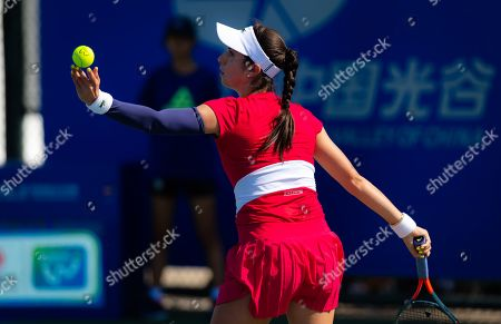 Christina McHale of the United States in action during qualifications at the 2019 Dongfeng Motor Wuhan Open Premier 5 tennis tournament