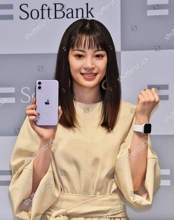 Japanese actress Hirose Suzu attends the launch event for iPhone 11 at Softbank Ginza store.