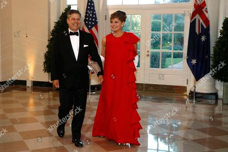 Stock Photo of Jonathan Steinberg, Maria Bartiromo. Television host Maria Bartiromo, right, and husband Jonathan Steinberg arrive for a State Dinner with Australian Prime Minister Scott Morrison and President Donald Trump at the White House, in Washington