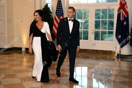 Stephanie Grisham, Max Miller. White House press secretary Stephanie Grisham, left, and Max Miller, director of Presidential Advance, arrive for a State Dinner with Australian Prime Minister Scott Morrison and President Donald Trump at the White House, in Washington