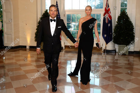 Lachlan Murdoch, Sarah Murdoch. Lachlan Murdoch, left, and wife Sarah Murdoch arrive for a State Dinner with Australian Prime Minister Scott Morrison and President Donald Trump at the White House, in Washington