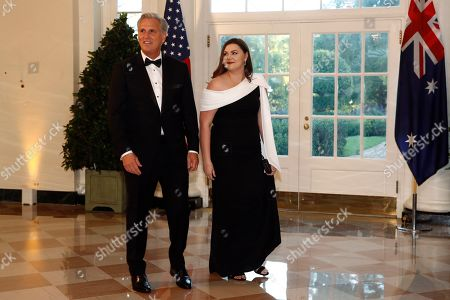 Kevin McCarthy, Meghan McCarthy. House Minority Leader Kevin McCarthy, R-Calif., and daughter Meghan McCarthy arrive for a State Dinner with Australian Prime Minister Scott Morrison and President Donald Trump at the White House, in Washington