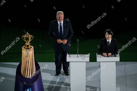 World Rugby Chairman Sir Bill Beaumont makes the opening address as Japan's Prince Akishino watches