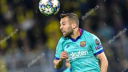 Stock Photo of Barcelona's Jordi Alba plays during the Champions League Group F soccer match between Borussia Dortmund and FC Barcelona in Dortmund, Germany