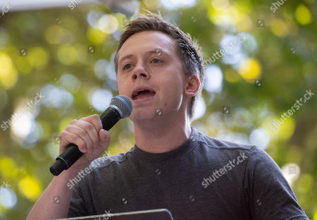 Journalist, Owen Jones, speaks at the event. Global Climate Strike. Adults are urged to join young strikers on the streets in Central London. It is one of more than 150 events uk-wide as part of a global protest to demand urgent action to tackle climate change.