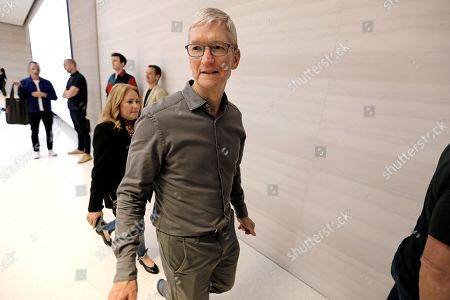 Stock Photo of Apple CEO Tim Cook departs the newly refurbished Apple store on Fifth Avenue in New York, New York, USA, 20 September 2019. The store reopens in time for the company to sell new products including the iPhone 11 and Series 5 Apple Watches.