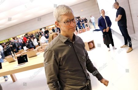 Stock Picture of Apple CEO Tim Cook departs the newly refurbished Apple store on Fifth Avenue in New York, New York, USA, 20 September 2019. The store reopens in time for the company to sell new products including the iPhone 11 and Series 5 Apple Watches.