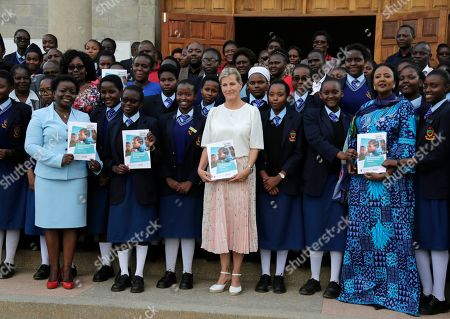 Countess of Wessex, Sophie Helen Rhys-Jones, Amina Mohamed. Britain's Sophie, the Countess of Wessex, center, Kenya's Cabinet Secretary for Sports, Culture and Heritage Amina Mohamed, right, and schoolgirls pose for a group photograph at Moi Girls Secondary School in Nairobi, Kenya, . The Countess of Wessex is finishing up a two day visit focused on gender equality, preventing sexual violence in conflict, and girls' education