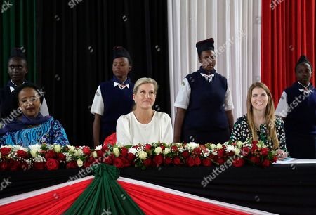 Countess of Wessex, Sophie Helen Rhys-Jones, Amina Mohamed, Jane Marriot. Britain's Sophie, the Countess of Wessex, center, Kenya's Cabinet Secretary for Sports, Culture and Heritage Amina Mohamed, left, and British High Commissioner to Kenya Jane Marriot, right, attend an assembly at Moi Girls Secondary School in Nairobi, Kenya . The Countess of Wessex is finishing up a two day visit focused on gender equality, preventing sexual violence in conflict, and girls' education