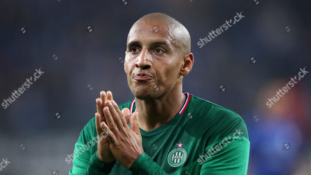 Saint Etienne's Wahbi Khazri gestures to supporters at the end of the Europa League group I soccer match between Gent and Saint Etienne at KAA Gent Stadium in Ghent, Belgium
